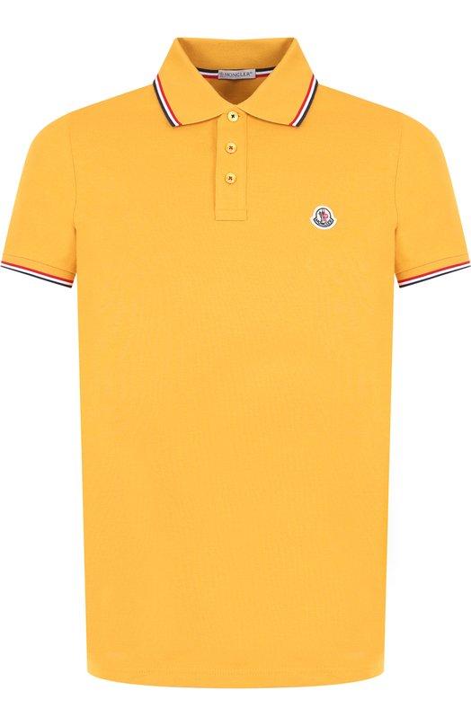 Купить Хлопковое поло с короткими рукавами Moncler, D2-091-83456-00-84556, Турция, Желтый, Хлопок: 100%;