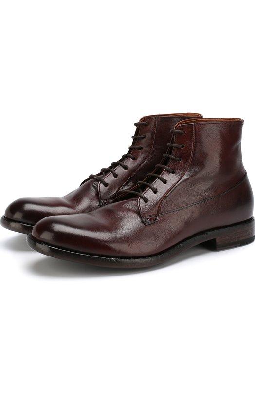 Высокие кожаные ботинки на шнуровке Pantanetti