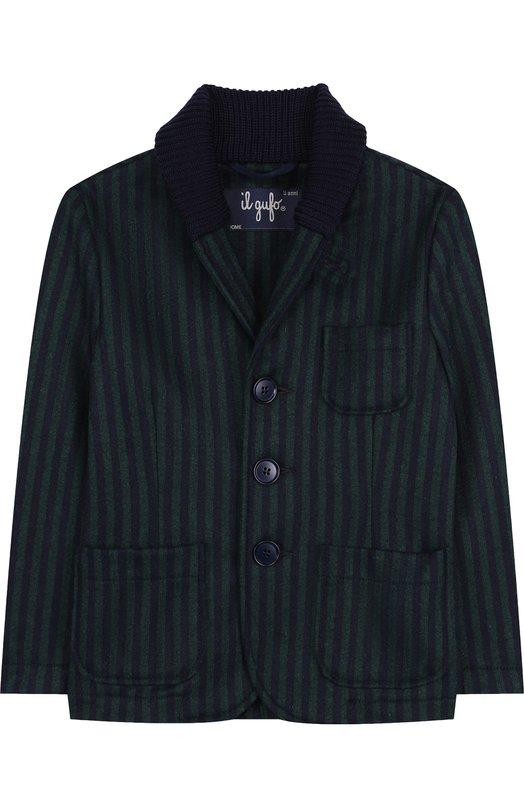 Купить Шерстяной однобортный пиджак с шалевым воротником Il Gufo, A18GA282W1005/10A-12A, Италия, Зеленый, Шерсть: 70%; Акрил: 3%; Полиамид: 25%; Эластан: 2%;