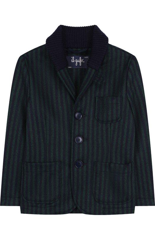 Купить Шерстяной однобортный пиджак с шалевым воротником Il Gufo, A18GA282W1005/2A-4A, Италия, Зеленый, Шерсть: 70%; Акрил: 3%; Полиамид: 25%; Эластан: 2%;