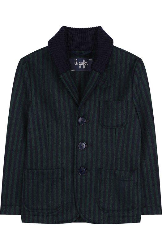 Купить Шерстяной однобортный пиджак с шалевым воротником Il Gufo, A18GA282W1005/5A-8A, Италия, Зеленый, Шерсть: 70%; Акрил: 3%; Полиамид: 25%; Эластан: 2%;