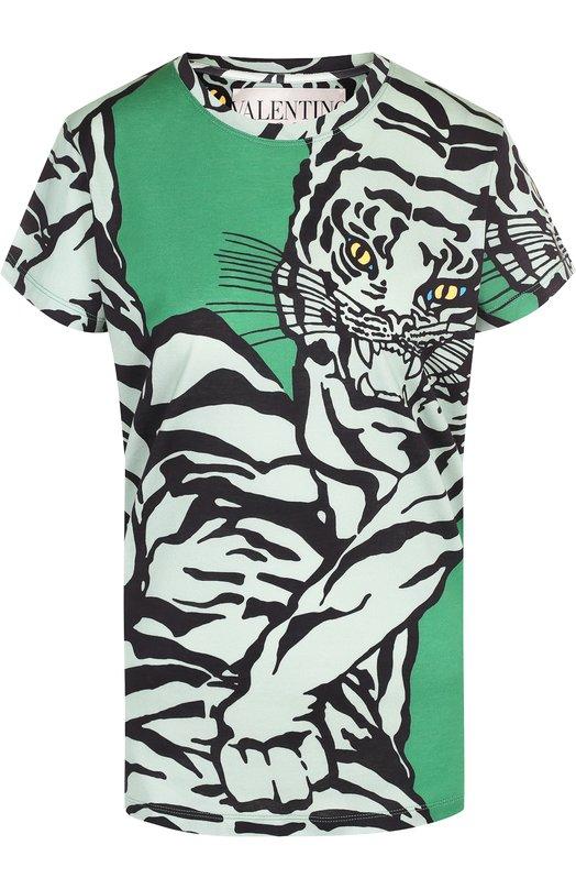 Купить Хлопковая футболка с круглым вырезом и принтом Valentino, QB3MG09A48Q, Италия, Зеленый, Хлопок: 100%;
