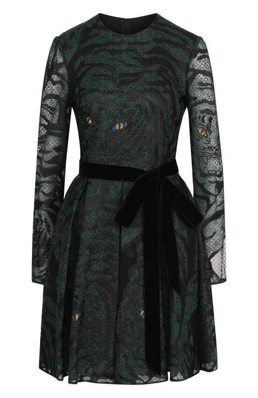 Купить Приталенное мини-платье с поясом Valentino, QB3VAJC049J, Италия, Зеленый, Полиамид: 100%;