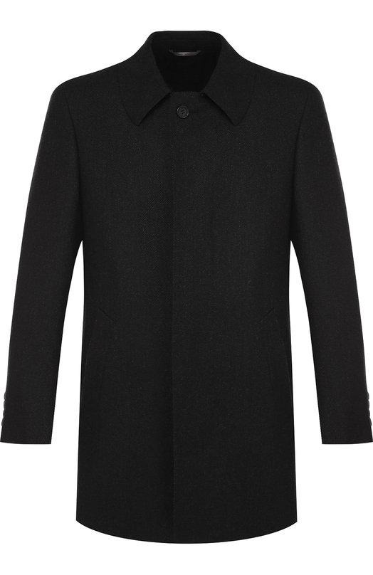 Купить Однобортное шерстяное пальто с отложным воротником Canali, 58942/FF00193, Италия, Темно-серый, Шерсть: 100%;