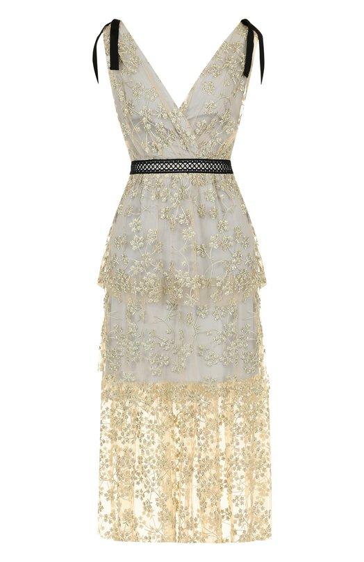 Купить Приталенное платье-миди с оборками и металлизированной нитью self-portrait, SP18-085, Китай, Светло-серый, Полиэстер: 50%; Полиамид: 31%; Металлизированное волокно: 19%;