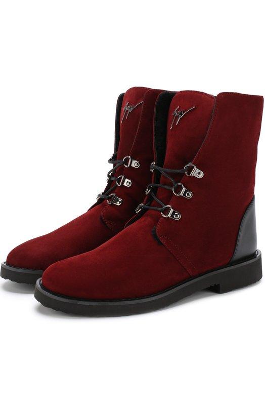 Купить Замшевые ботинки Fortune с внутренней меховой отделкой Giuseppe Zanotti Design, I770020/011, Италия, Бордовый, Подкладка-мех/овчина/: 80%; Подкладка-мех/кролик/: 20%; Подошва-резина: 100%; Кожа: 100%;