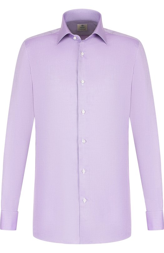 Купить Хлопковая сорочка с воротником кент Luigi Borrelli, EV08/TS6852/PD5, Италия, Сиреневый, Хлопок: 100%;