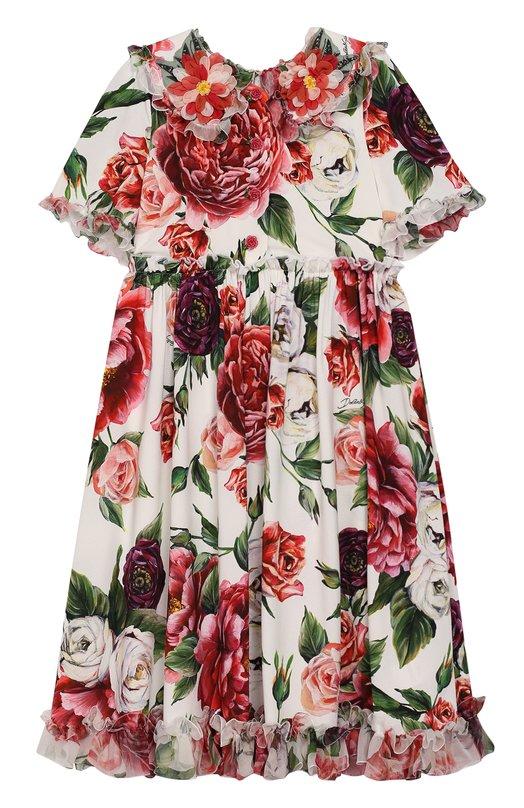 Платье из смеси вискозы и шелка с завышенной талией и аппликацией Dolce & Gabbana