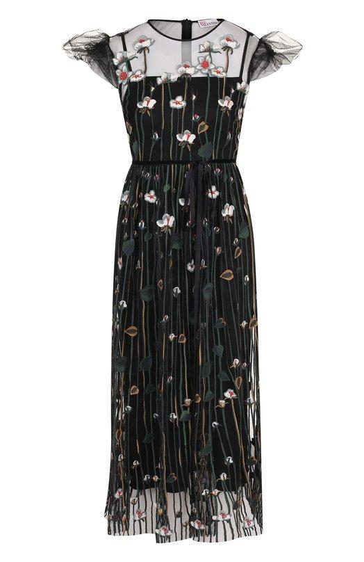 Приталенное платье-миди и декоративной вышивкой REDVALENTINO, QR3VA09Z/3UG, Китай, Разноцветный, Полиэстер: 100%;  - купить