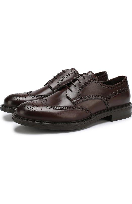 Купить Кожаные дерби с брогированием на шнуровке W.Gibbs, 3169007/CALF TEK, Италия, Коричневый, Подошва-резина: 100%; Подкладка-кожа: 100%; Кожа: 100%;