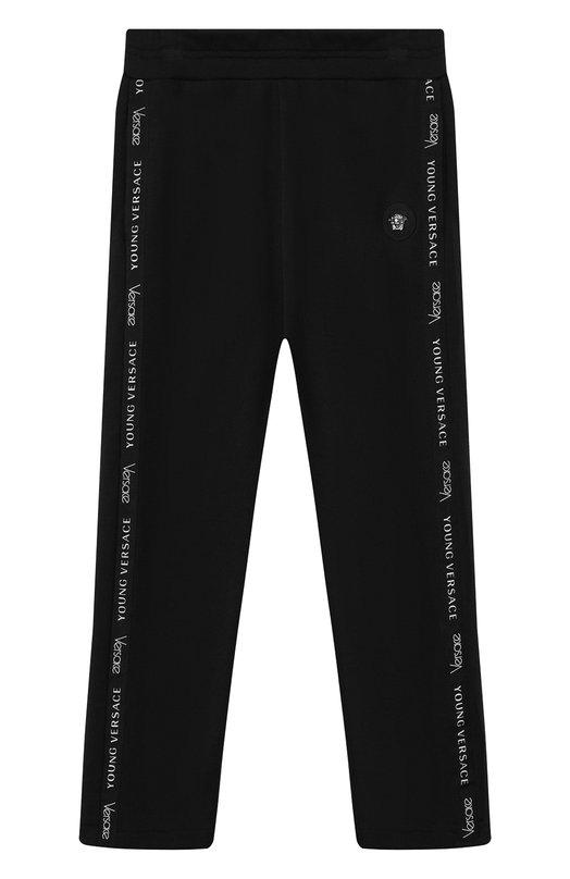 Купить Хлопковые брюки с лампасами Young Versace, YVMPA167/YFE130/8A-S, Италия, Черный, Хлопок: 100%;