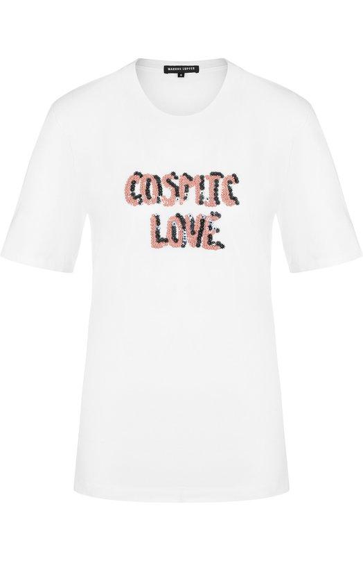 Купить Хлопковая футболка с круглым вырезом и декоративной отделкой Markus Lupfer, TEE084, Индия, Белый, Хлопок: 100%;