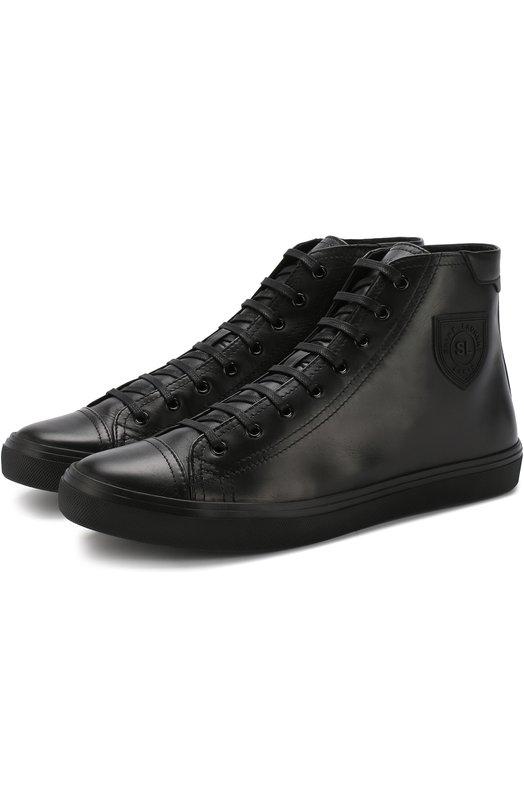 Купить Высокие кожаные кроссовки Bedford на шнуровке Saint Laurent, 520588/00610, Италия, Черный, Подошва-резина: 100%; Подкладка-кожа: 100%; Кожа: 100%;