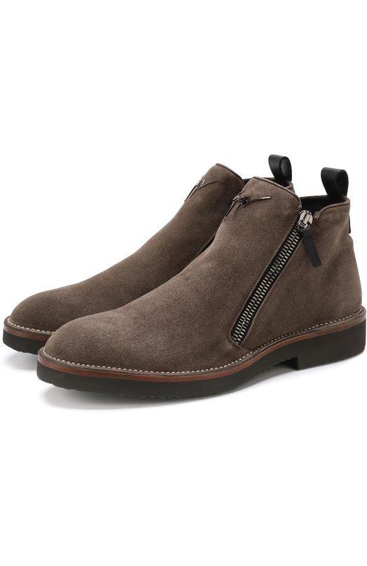 Купить Замшевые ботинки Austin с внутренней меховой отделкой Giuseppe Zanotti Design, IU70078/001, Италия, Коричневый, Подошва-резина: 100%; Замша натуральная: 100%; Стелька-овчина: 100%; Подкладка-мех натуральный: 100%; Кожа: 100%;