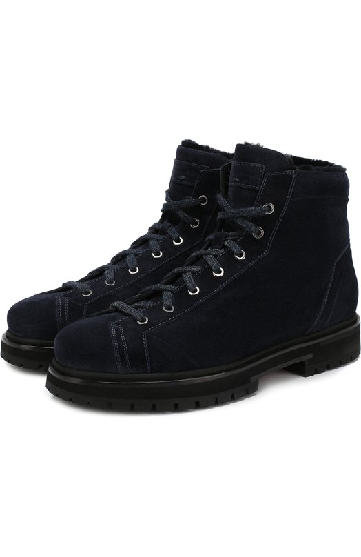 Купить Замшевые ботинки с внутренней меховой отделкой на шнуровке Santoni, MBSN20880NERHPEAU60, Италия, Темно-синий, Подошва-резина: 100%; Подкладка-мех/овчина/: 100%; Кожа: 100%;
