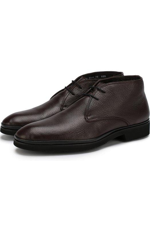Кожаные ботинки на шнуровке с внутренней меховой отделкой Aldo Brue, AB856DP-CM3, Италия, Бордовый, Подкладка-мех натуральный: 95%; Подкладка-кожа: 5%; Стелька-овчина: 100%; Кожа натуральная: 100%; Подошва-резина: 100%; Кожа: 100%;  - купить