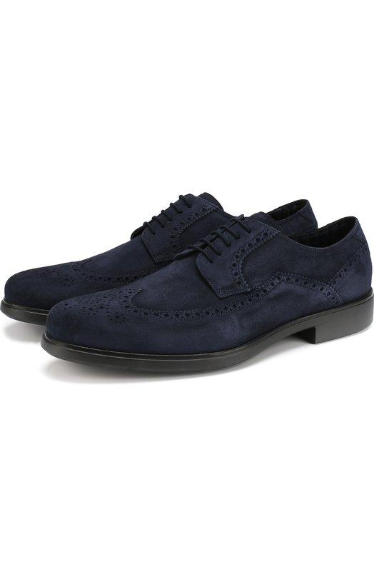 Купить Замшевые дерби с брогированием на шнуровке Aldo Brue, AB637DP-LND, Италия, Темно-синий, Подошва-резина: 100%; Подкладка-текстиль: 100%; Кожа: 100%;