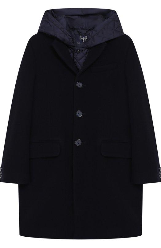Купить Однобортное пальто из смеси шерсти и кашемира с капюшоном Il Gufo, A18GP179W0025/10A-12A, Италия, Синий, Шерсть: 90%; Кашемир: 10%;