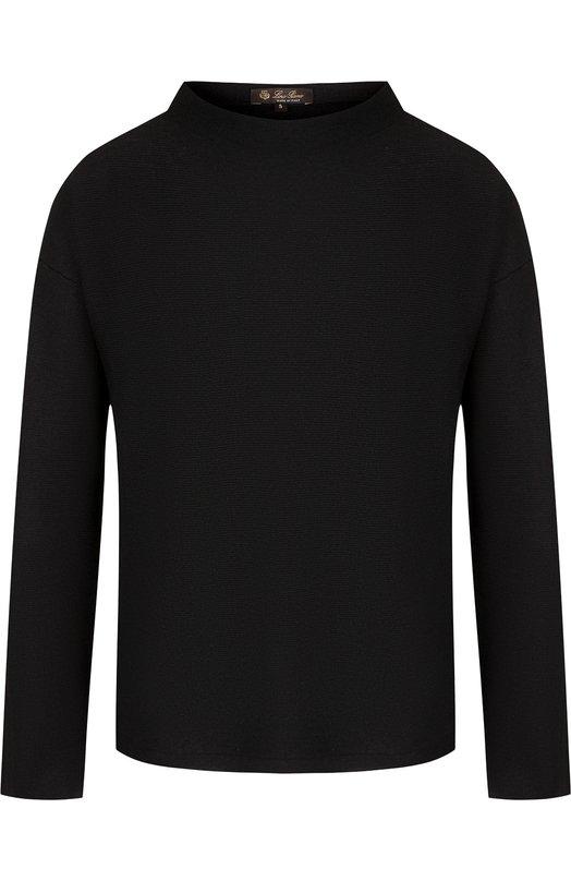 Однотонный пуловер из смеси кашемира и шелка Loro Piana