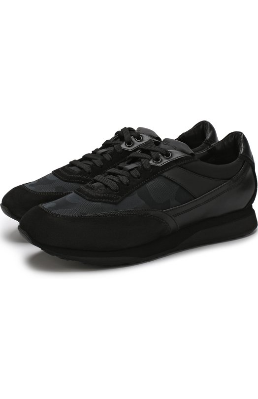 Купить Комбинированные кроссовки на шнуровке Santoni, MBFL20889NGNDHDNN01, Италия, Черный, Кожа: 71%; Подкладка-текстиль: 69%; Подкладка-кожа: 31%; Текстиль: 29%; Подошва-резина: 100%;