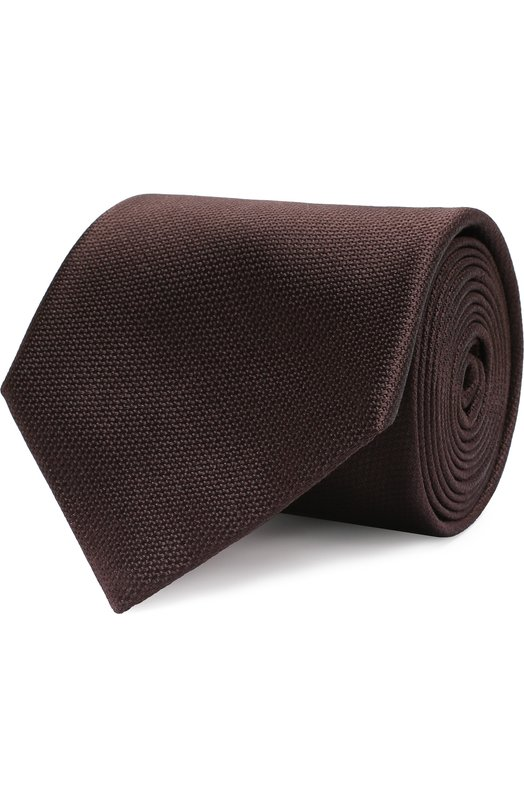 Купить Однотонный шелковый галстук Brioni, 062I00/07455, Италия, Коричневый, Шелк: 100%;