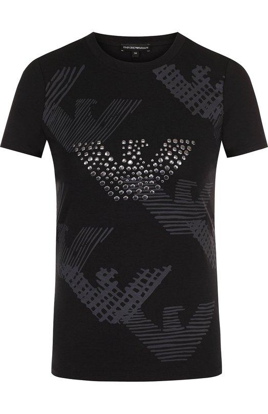 Купить Хлопковая футболка с круглым вырезом и принтом Emporio Armani, 6Z2T69/2J07Z, Маврикий, Черный, Хлопок: 95%; Эластан: 5%;
