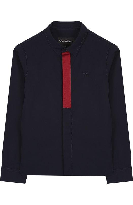 Купить Хлопковая рубашка с воротником кент Emporio Armani, 6Z4CB3/1NVCZ, Китай, Темно-синий, Хлопок: 100%;