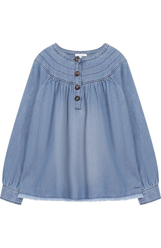Купить Хлопковая блуза свободного кроя Chloé, C15875/14A, Тунис, Голубой, Хлопок: 100%;