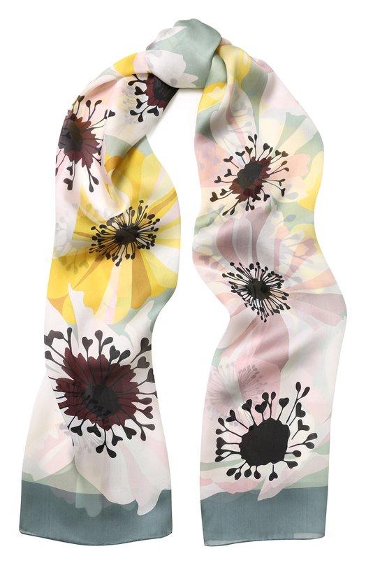 Купить Шелковый шарф с цветочным принтом Valentino, QT0ED007/TVB, Италия, Светло-зеленый, Шелк: 100%;