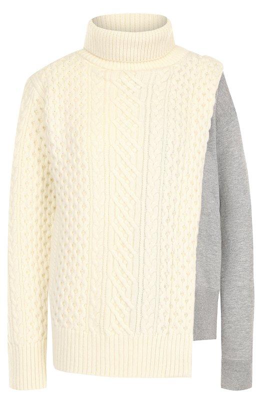 Шерстяной пуловер с воротником-стойкой Sacai