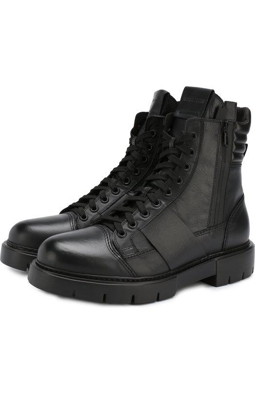 Купить Высокие кожаные ботинки на шнуровке с молнией O.X.S., 9T3804U.P02S230101, Италия, Черный, Подошва-резина: 100%; Подкладка-текстиль: 100%; Кожа: 100%;