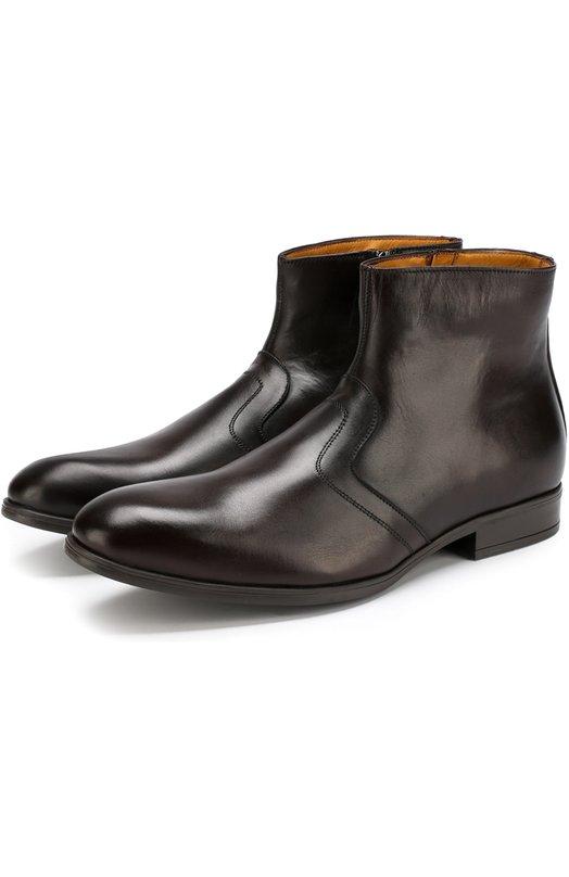 Купить Кожаные ботинки на молнии с внутренней меховой отделкой A. Testoni, M50033FS0H/97825DA0, Италия, Коричневый, Подошва-резина: 100%; Подкладка-кожа: 100%; Кожа: 100%;