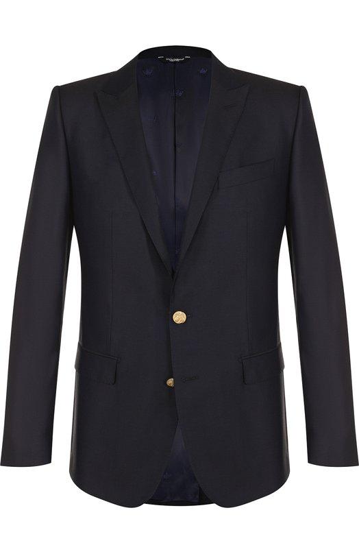 Однобортный пиджак из смеси шерсти и шелка с остроконечными лацканами Dolce & Gabbana, G2LK0T/FU30B, Италия, Темно-синий, Шерсть: 60%; Шелк: 40%;  - купить