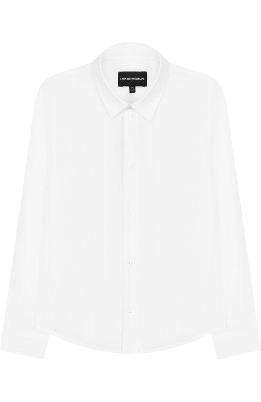 Купить Хлопковая рубашка с воротником кент Emporio Armani, 8N4C09/1N06Z, Тунис, Белый, Хлопок: 76%; Эластан: 3%; Полиамид: 21%;