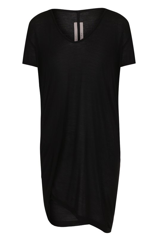 Купить Удлиненная футболка из смеси вискозы и шелка Rick Owens, RP18F4206/JS, Италия, Черный, Вискоза: 88%; Шелк: 12%;