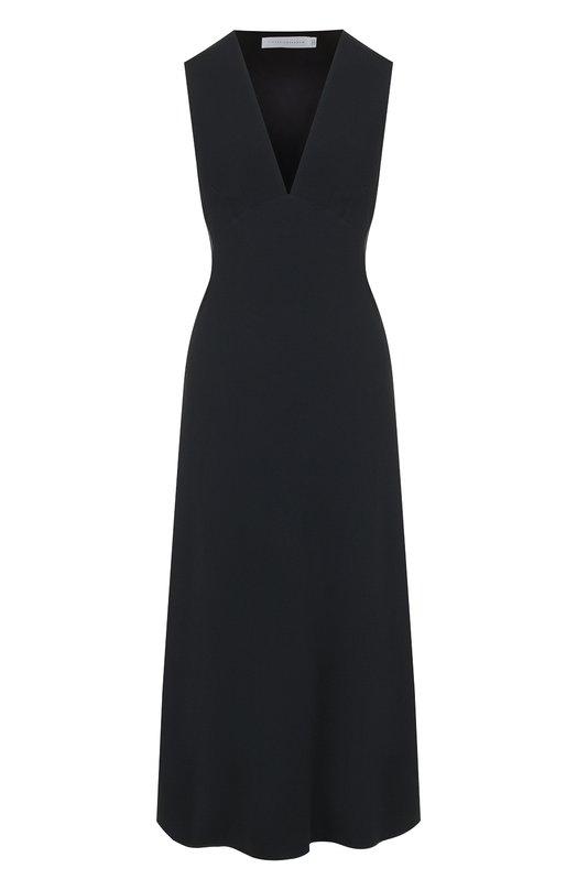 Купить Однотонное платье-миди с V-образным вырезом Victoria Beckham, DR MID 6528 PAW18 FLUID CADY, Великобритания, Черный, Эластан: 8%; Вискоза: 50%; Ацетат: 42%;