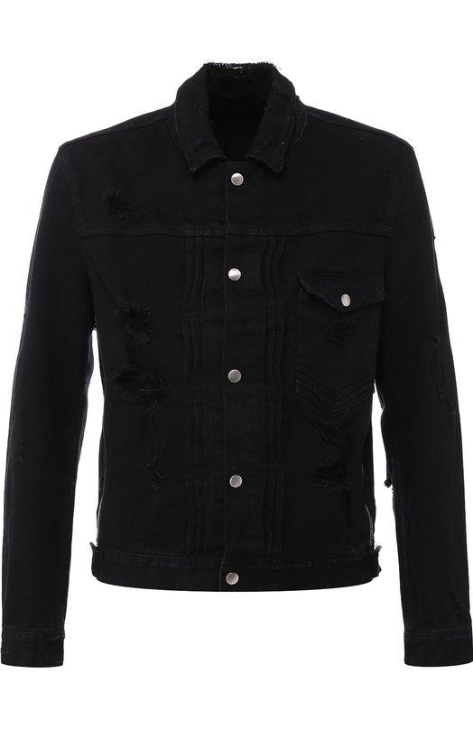 Купить Джинсовая куртка на кнопках Balmain, W8H/2847/T022, Япония, Черный, Хлопок: 98%; Полиуретан: 2%;