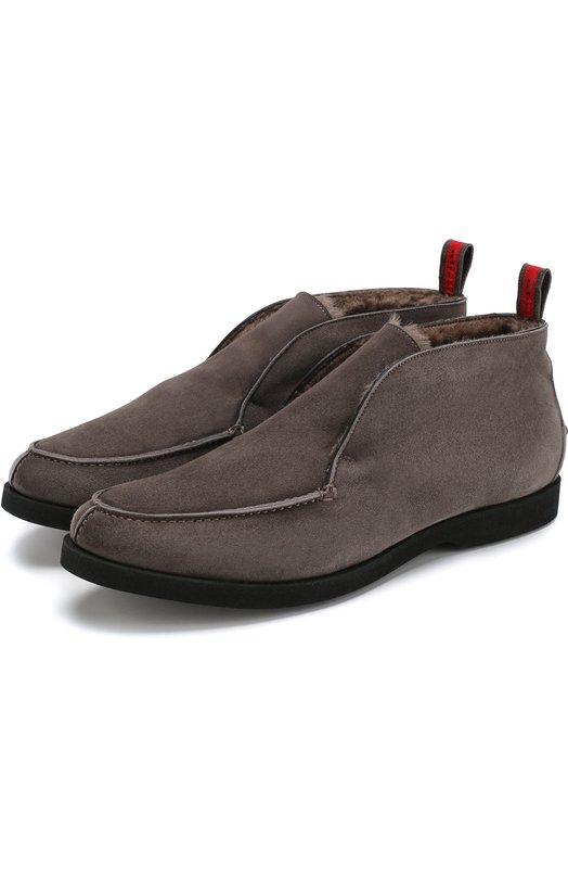 Купить Замшевые ботинки с внутренней меховой отделкой Kiton, USSFLYN00104, Италия, Темно-серый, Замша натуральная: 100%; Кожа: 100%; Подкладка-мех натуральный: 100%; Подкладка-мех/овчина/: 100%; Подошва-резина: 100%; Стелька-кожа: 100%;