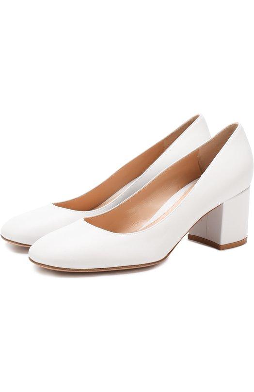 Купить Кожаные туфли Gilda на устойчивом каблуке Gianvito Rossi, G21309.60RIC.NAPBIAN, Италия, Белый, Подошва-кожа: 100%; Подкладка-кожа: 100%; Кожа: 100%;