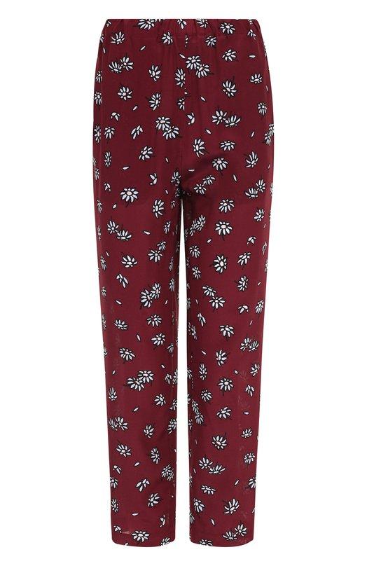 Купить Укороченные шелковые брюки с принтом Marni, PAMA014A00/TSE89, Италия, Бордовый, Шелк: 100%;