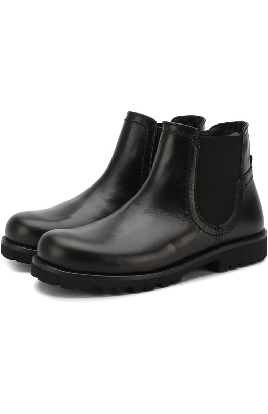 Купить Кожаные ботинки на молнии с эластичной вставкой Dolce & Gabbana, D10603/AU497/24-28, Италия, Черный, Подошва-резина: 100%; Подкладка-кожа: 100%; Кожа: 100%;