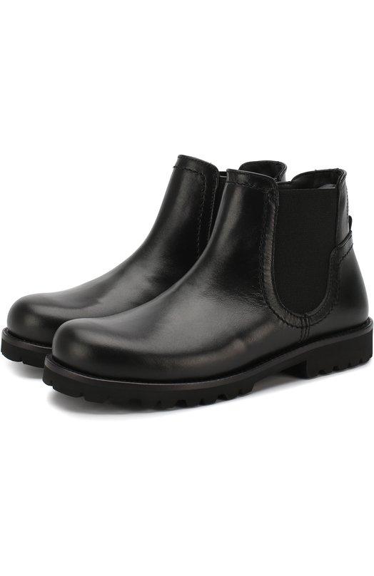 Купить Кожаные ботинки на молнии с эластичной вставкой Dolce & Gabbana, D10603/AU497/29-36, Италия, Черный, Подошва-резина: 100%; Подкладка-кожа: 100%; Кожа: 100%;