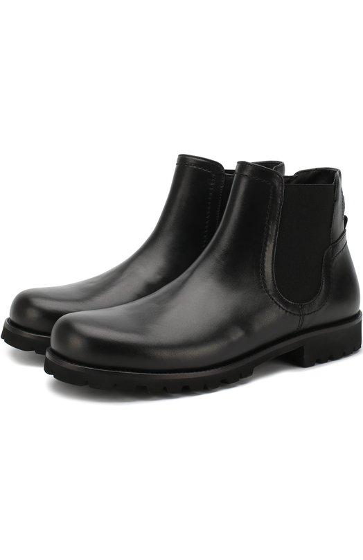 Купить Кожаные ботинки на молнии с эластичной вставкой Dolce & Gabbana, D10603/AU497/37-39, Италия, Черный, Подошва-резина: 100%; Подкладка-кожа: 100%; Кожа: 100%;