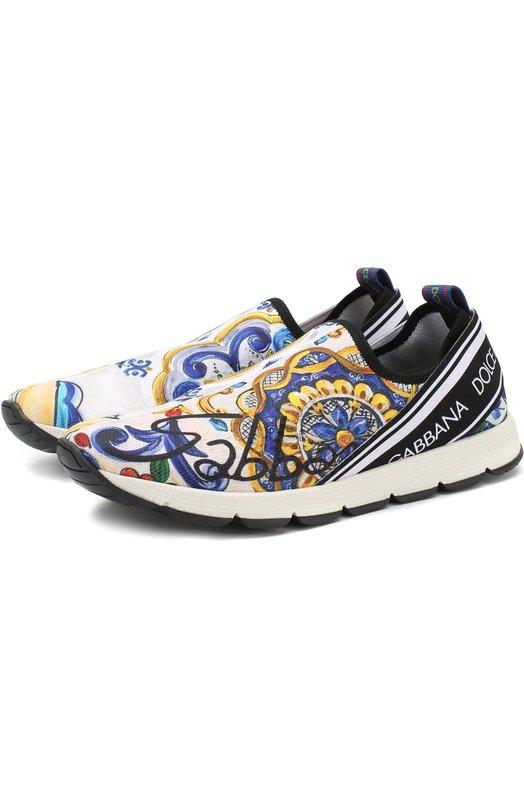 Купить Текстильные кроссовки без шнуровки Dolce & Gabbana, D10723/AU989/37-39, Италия, Разноцветный, Подкладка-полиэстер: 50%; Подкладка-кожа: 50%; Подошва-резина: 100%; Полиэстер: 100%;