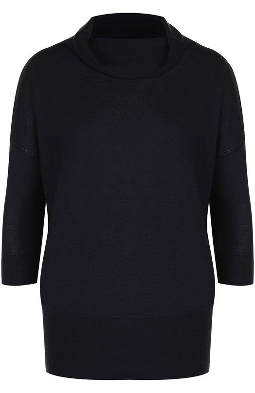 Купить Однотонный пуловер из смеси кашемира и шелка Cruciani, CD22.202, Италия, Темно-синий, Кашемир: 70%; Шелк: 30%;