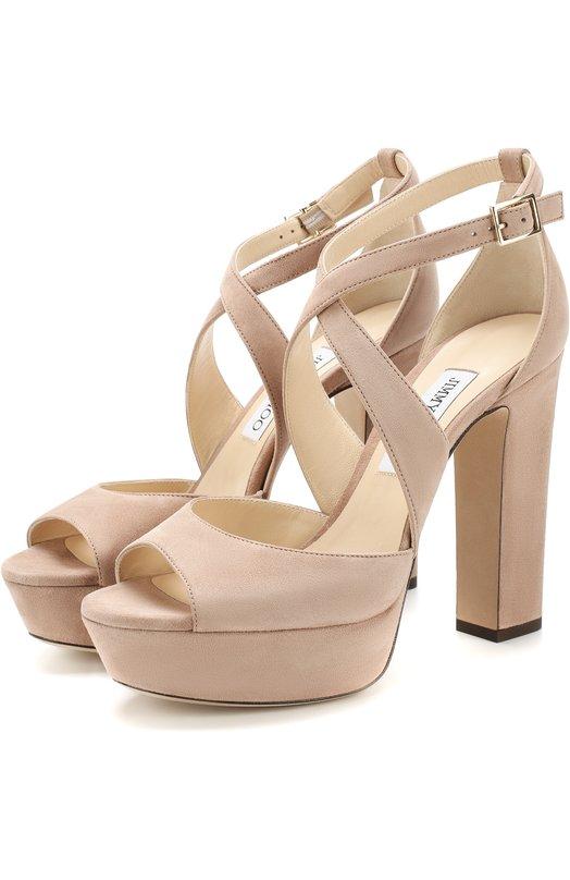 Замшевые босоножки April 120 на устойчивом каблуке Jimmy Choo, APRIL 120/SUE, Италия, Розовый, Стелька-кожа: 100%; Подошва-кожа: 100%; Замша натуральная: 100%; Подкладка-кожа: 100%; Кожа: 100%;  - купить