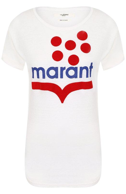 Купить Льняная футболка с круглым вырезом и логотипом бренда Isabel Marant Etoile, TS0443-18A026E/K0LDIA, Тунис, Белый, Лен: 100%;