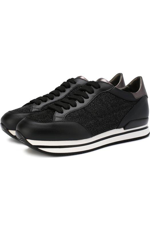 Купить Комбинированные кроссовки с глиттером на шнуровке Hogan, HXW2220K021JD5, Италия, Черный, Текстиль: 60%; Кожа: 40%; Подошва-резина: 100%; Подкладка-текстиль: 100%;