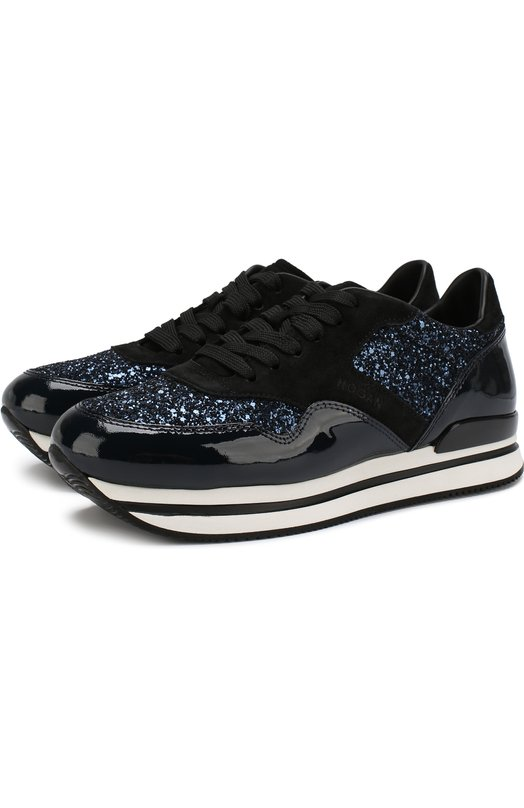 Купить Комбинированные кроссовки с глиттером на шнуровке Hogan, HXW2220N622CRQ, Италия, Темно-синий, Текстиль: 60%; Кожа: 40%; Подошва-резина: 100%; Подкладка-текстиль: 100%;
