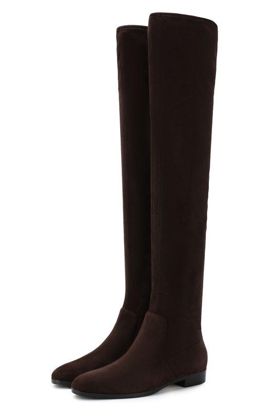 Купить Замшевые ботфорты на низком каблуке Sergio Rossi, A81980-MAF714, Италия, Темно-коричневый, Подошва-резина: 85%; Подошва-кожа: 15%; Подкладка-кожа: 100%; Кожа: 100%;